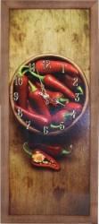 Tablou cu ceas inramat 20x50 cm Red Pepper