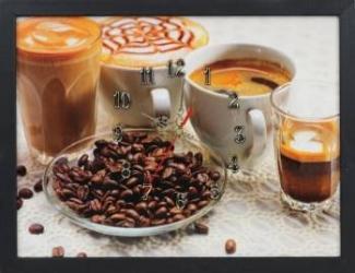 Tablou cu ceas inramat 30x40 cm Coffee Cups