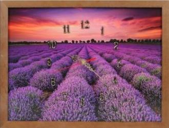 Tablou cu ceas inramat 30x40 cm Lavender Ceasuri si Radio cu ceas