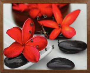 Tablou cu ceas inramat 40x50 cm Red Flower Ceasuri si Radio cu ceas