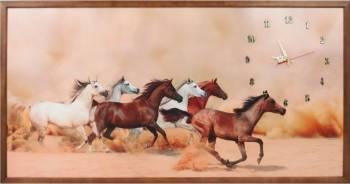 Tablou cu ceas inramat 50x100 cm Horses Ceasuri si Radio cu ceas