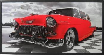 Tablou cu ceas inramat 50x100 cm Red Chevy Ceasuri si Radio cu ceas