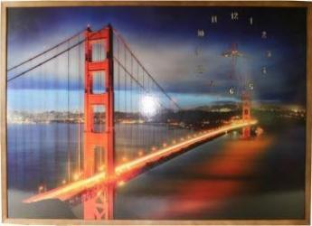 Tablou cu ceas inramat 70x100 cm Bridge