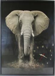 Tablou cu ceas inramat 70x100 cm Elephant