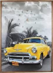 Tablou cu ceas inramat 70x100 cm Yellow Chevy Ceasuri si Radio cu ceas