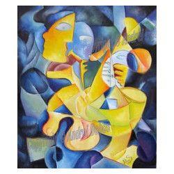 Tablou modern abstract gata de inramat Ritmuri inghetate 60x70cm pictat  manual de DOBOS