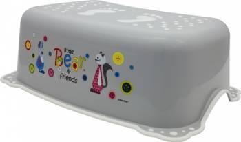 Taburet Inaltator Baie Copii MyKids Little Bear and Friend cu sistem antialunecare Alb-Gri Olite si reductoare WC