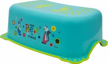 Taburet Inaltator Baie Copii MyKids Little Bear and Friend cu sistem antialunecare Turquoise Olite si reductoare WC
