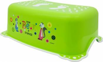 Taburet Inaltator Baie Copii MyKids Little Bear and Friend cu sistem antialunecare Verde Olite si reductoare WC