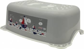 Taburet Inaltator Baie Copii MyKids Ocean Sea cu sistem antialunecare Gri-Alb Olite si reductoare WC