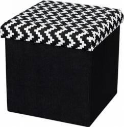 Taburet Pliabil Heinner Home 38x38x38 cm Textil, Black  Decoratiuni camera