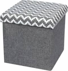Taburet Pliabil Heinner Home 38x38x38 cm Textil, Gri  Decoratiuni camera