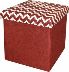 Taburet Pliabil Heinner Home 38x38x38 cm Textil, Rosu  Decoratiuni camera