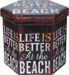 Taburet Pliabil Heinner Home 38x38x43 cm PVC, LIFE IS BETTER Accesorii camera copil