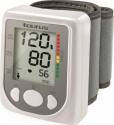 Tensiometru incheietura Taurus Tensio II 60 memorii Masoara systolic Diagnostic conform OMS Afisaj LED Alb/Gri Tensiometre