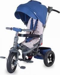 Tricicleta COCCOLLE Corso multifunctionala roti cauciuc, Albastru Triciclete