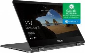 Ultrabook 2in1 Asus ZenBook Flip UX461UA Intel Core Kaby Lake R(8th Gen) i5-8250U 256GB 8GB Win10 FullHD FPR Gri Laptop laptopuri