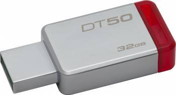 USB Flash Drive Kingston 32GB DataTraveler 50 USB 3.1 Metal-Rosu USB Flash Drive