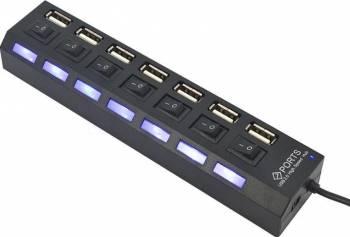 USB Hub 2.0 cu 7 porturi USB Black USB Hub