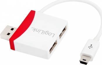USB Hub LogiLink UA0179 2x USB 2.0 1x mini USB Alb-Rosu