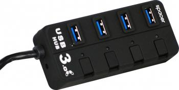 USB Hub Spacer SPH-304 4 x USB 3.0 Negru
