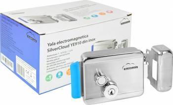 Yala electromagnetica SilverCloud YE910 din inox cu butuc dublu si buton Seifuri Lacate Feronerie
