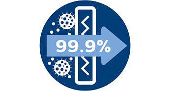 Filtrul antialergic reţine 99,9 % din particule, fiind certificat ECARF