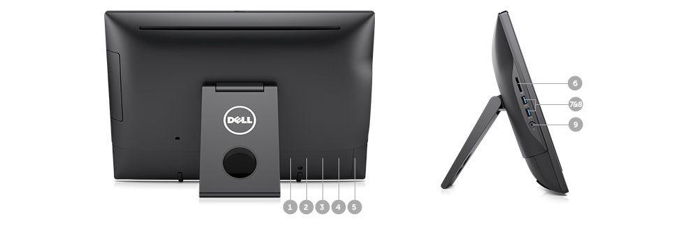 OptiPlex 3050 all-in-one – porturi şi sloturi