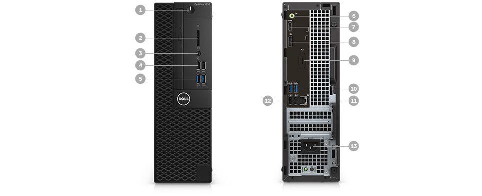 Desktopul OptiPlex 3050 – porturi şi sloturi – sistemul cu factor de formă redus