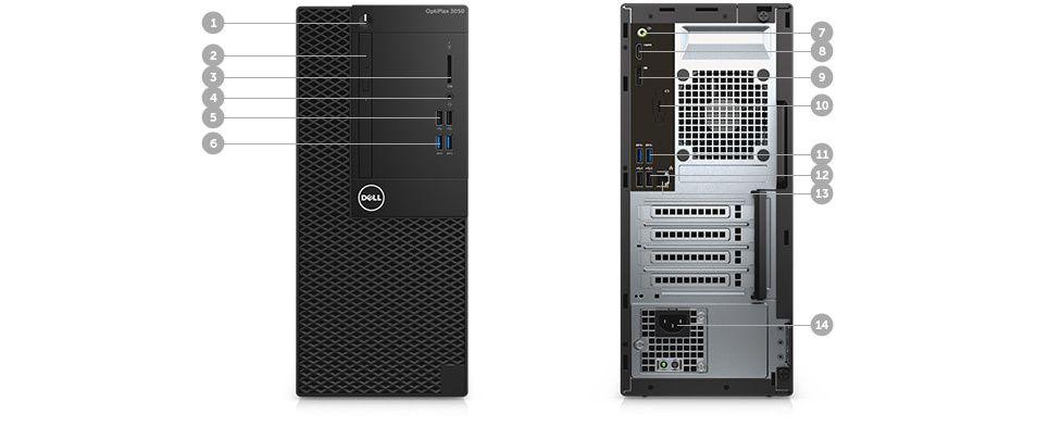 Desktopul OptiPlex 3050 – porturi şi sloturi – sistemul tower