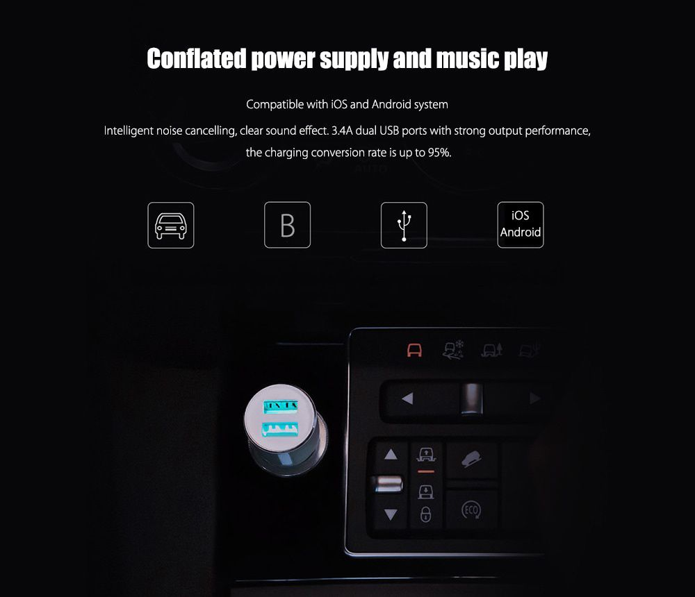 ROIDMI 3S Dual USB Ports Bluetooth Music Car Charger