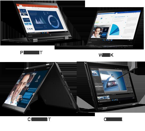 Versatilul model ThinkPad X1 Yoga lucrează cum doriți, cu cele patru moduri de utilizare pentru lucru, prezentări, creație și conectare.