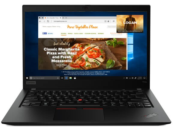 Front-facing view of the Lenovo ThinkPad T14s (Intel) laptop open 90 degrees.