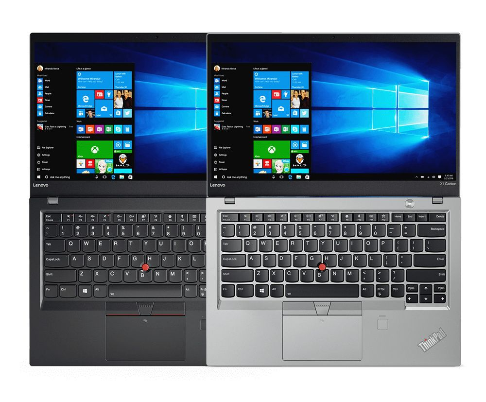 ThinkPad X1 Carbon with Windows 10 Pro, available in Silver and Black.