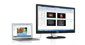 Un singur cablu USB 3.0 vă conectează laptopul la ecran