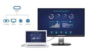 USB-C permite încărcarea laptopului direct de la monitor