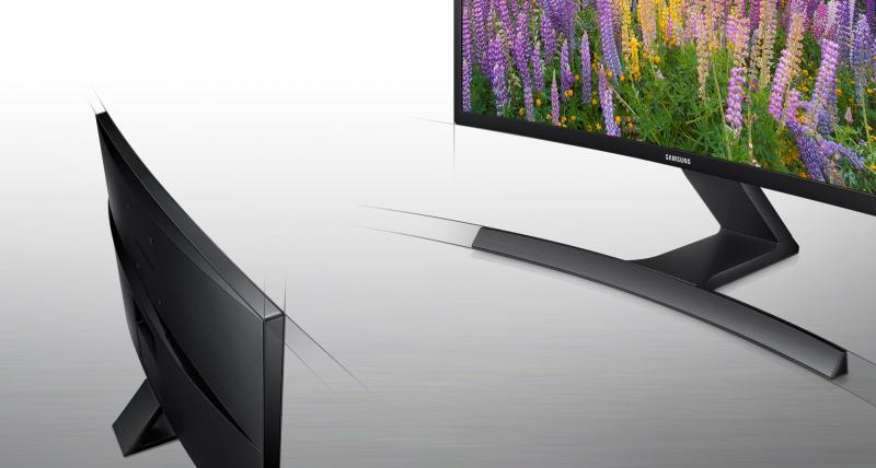 Design sofisticat negru lucios și suport în formă de T