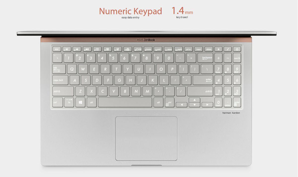 Și chiar dacă este compactă, ZenBook 15 dispune de o tastatură numerică  standard de dimensiuni reduse pentru introducerea rapidă a datelor. 50cbb5436627