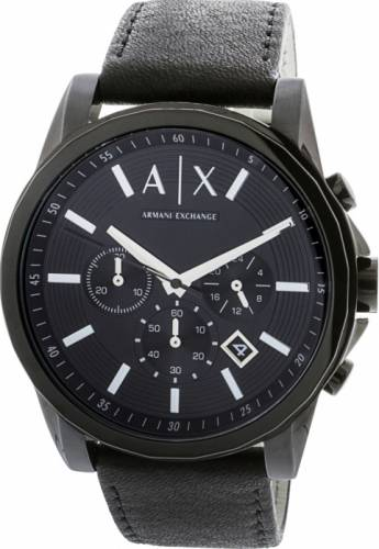 imagine 1 Ceas Armani Exchange barbatesc AX2098 negru Leather Quartz areax2098