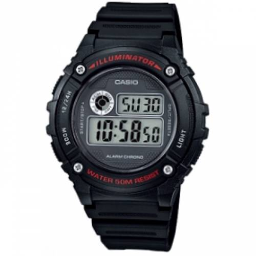 imagine 1 Ceas barbatesc CASIO W-216H-1A Negru Silicon Quartz wwtw-216h-1a