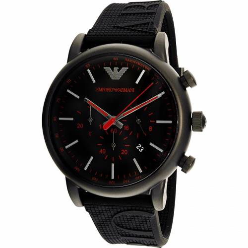 imagine 1 Ceas barbatesc Emporio Armani Luigi AR11024 Negru Silicon Quartz arear11024