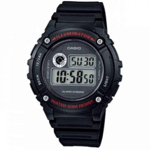 imagine 0 Ceas barbatesc CASIO W-216H-1A Negru Silicon Quartz wwtw-216h-1a