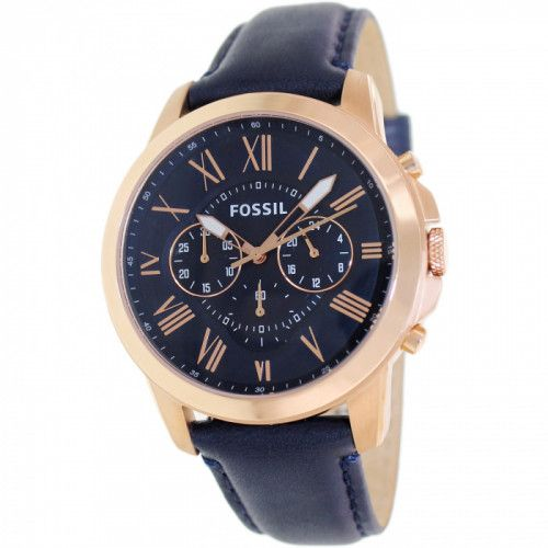 imagine 0 Ceas Fossil barbatesc Grant FS4835 albastru Leather Analog Quartz arefs4835