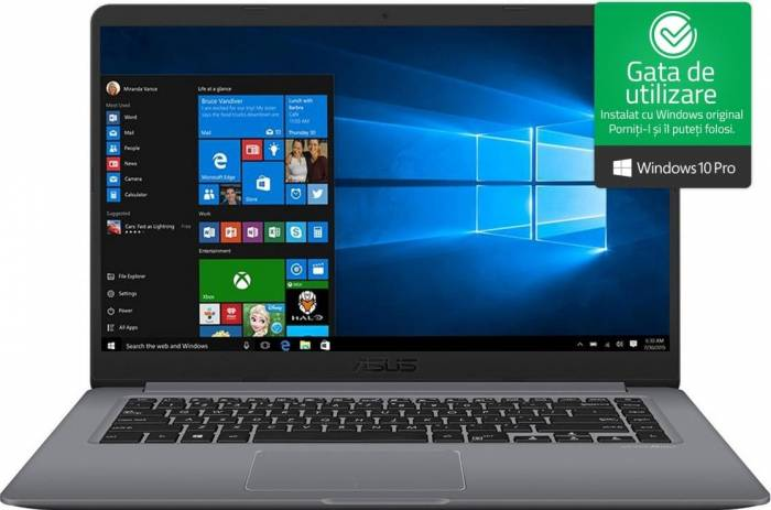 imagine 0 Ultrabook Asus VivoBook S510UA Intel Core Kaby Lake R (8th Gen) i5-8250U 500GB 4GB Win10 Pro FullHD Gri FPR S510UA-BQ623R