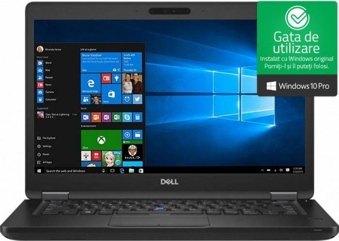 imagine 0 Laptop Dell Latitude 5490 Intel Core Kaby Lake R (8th Gen) i5-8250U 256GB SSD 8GB Win10 Pro FullHD Tast. ilum. FPR n112l549014emea