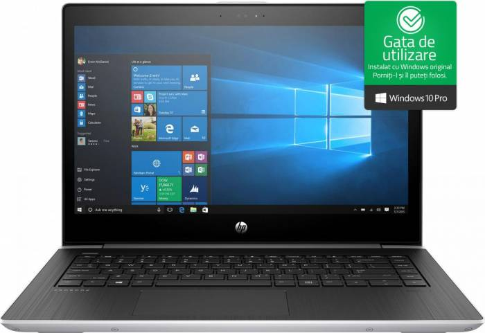 imagine 0 Laptop HP ProBook 440 G5 Intel Core Kaby Lake R (8th Gen) i5-8250U 256GB SSD 8GB Win10 Pro FullHD FPR Silver 2rs31ea