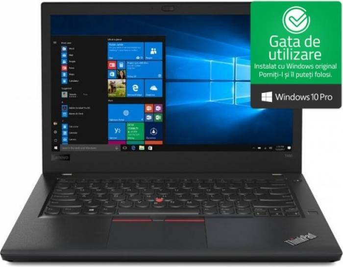 imagine 0 Laptop Lenovo ThinkPad T480 Intel Core Kaby Lake R (8th Gen) i7-8550U 256GB SSD 8GB Win10 Pro FullHD 20l50004ri