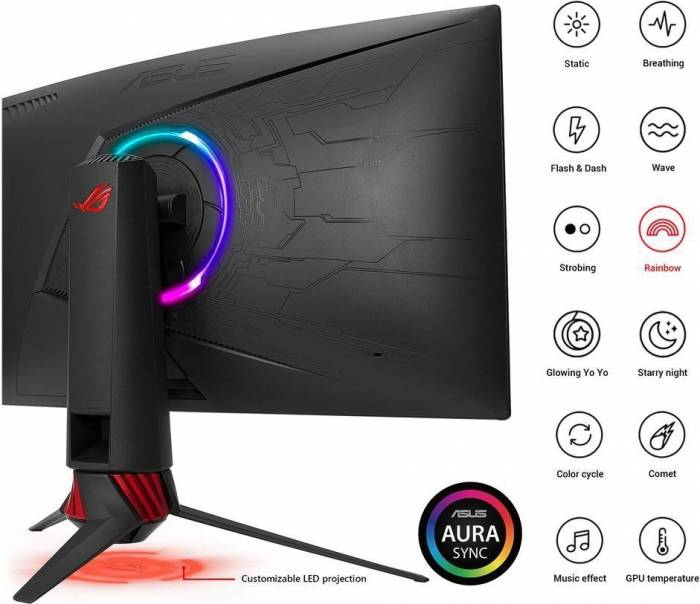 imagine 2 Monitor Gaming Curbat LED 32 Asus ROG Strix XG32VQ WQHD 4ms 144Hz FreeSync xg32vq