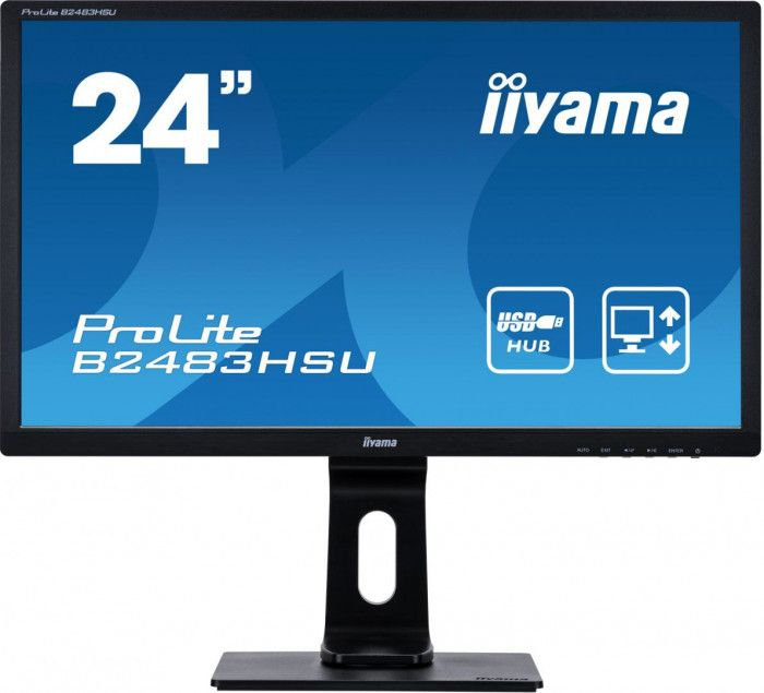 imagine 0 Monitor Iiyama ProLite B2483HSU-B1DP C LED TN 24 1ms FullHD Matte Black b2483hsu-b1dp c