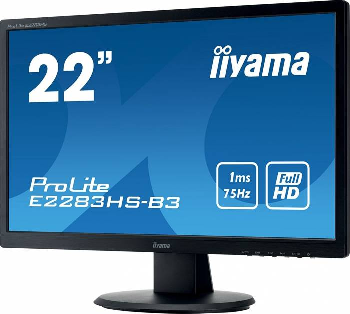 imagine 1 Monitor LED 22 Iiyama ProLite E2283HS-B3 Full HD 1ms e2283hs-b3